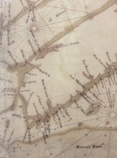 "Thomas Durell, A Chart of the Sea Coast of Nova Scotia, Accadia and Cape Breton [map]. 14 miles to 1 inch. 1736. (Detail). National Archives, U.K. Used with permission. Merligueche is located on the far right edge, spelled ""Marligash"""