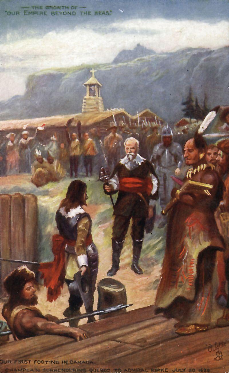 Champlain cédant Québec à l'amiral Kirk le 20 juillet 1629